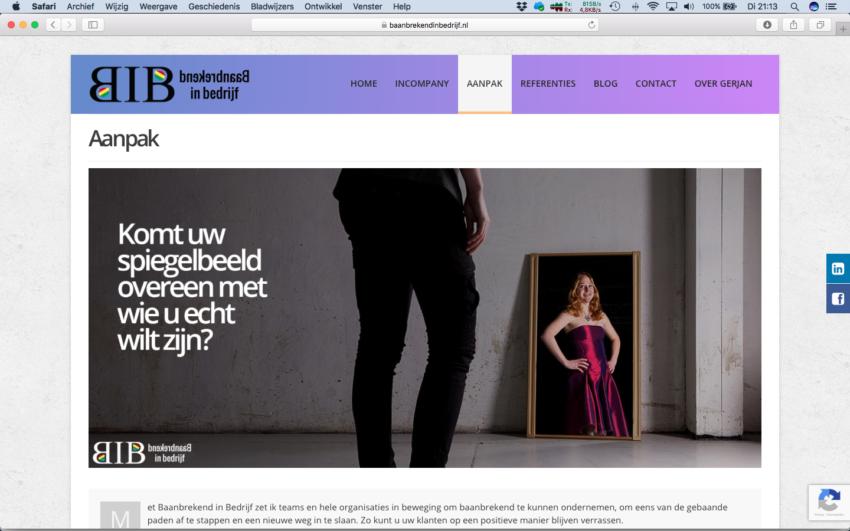 Marketingscan als basis voor Reclame fotografie voor gebruik op de website van Baanbrekend in Bedrijf.